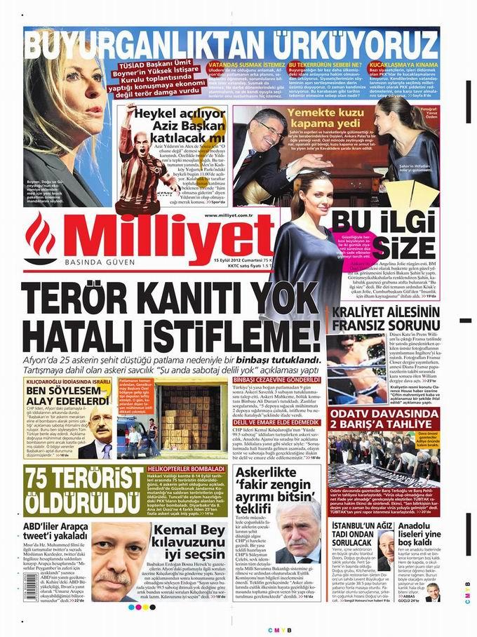 Gazete Manşetleri - 15 Eylül Cumartesi 15