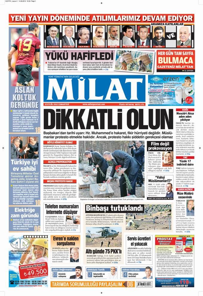 Gazete Manşetleri - 15 Eylül Cumartesi 17