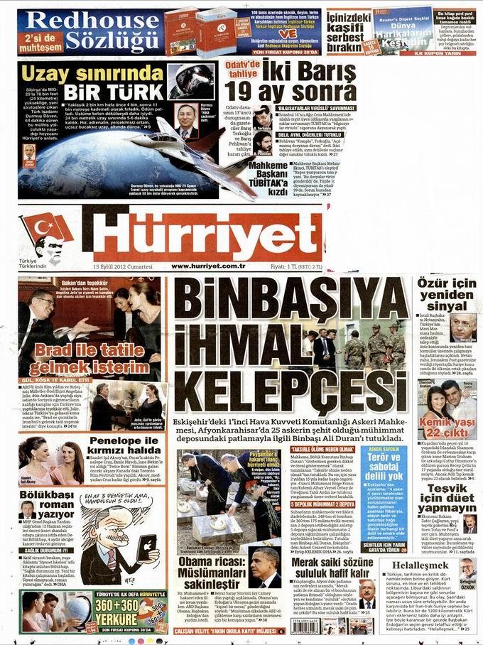 Gazete Manşetleri - 15 Eylül Cumartesi 18