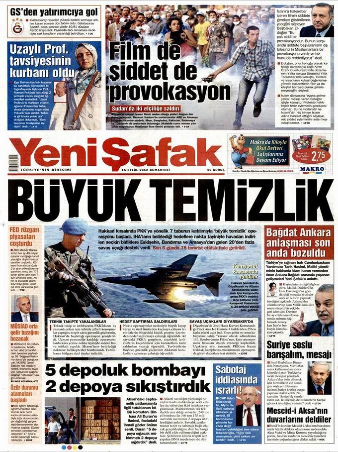 Gazete Manşetleri - 15 Eylül Cumartesi 2
