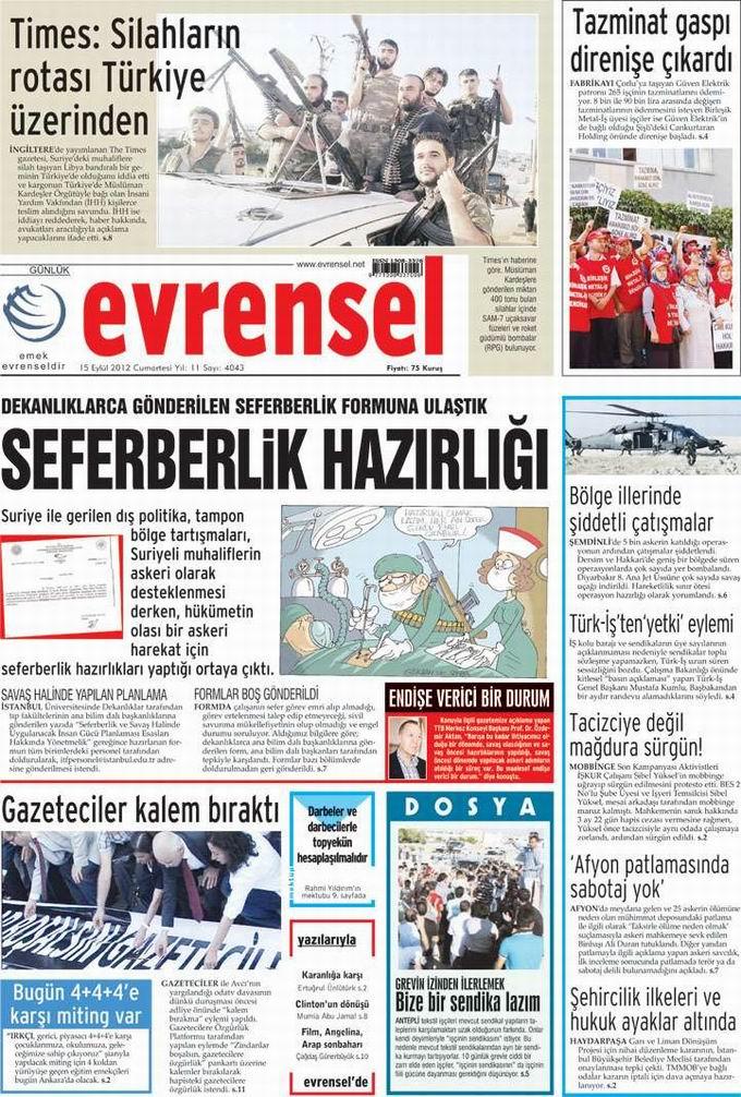 Gazete Manşetleri - 15 Eylül Cumartesi 21