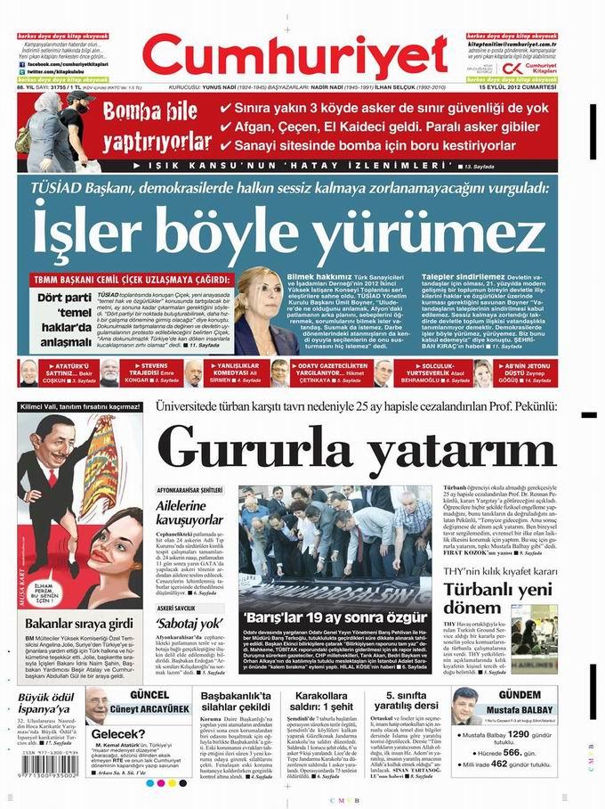 Gazete Manşetleri - 15 Eylül Cumartesi 22