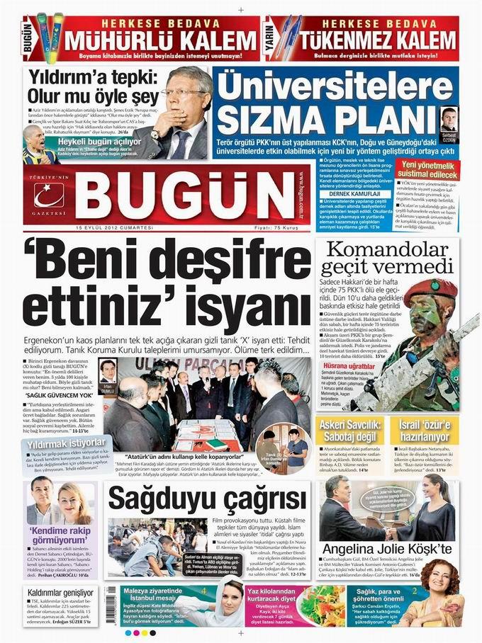 Gazete Manşetleri - 15 Eylül Cumartesi 23
