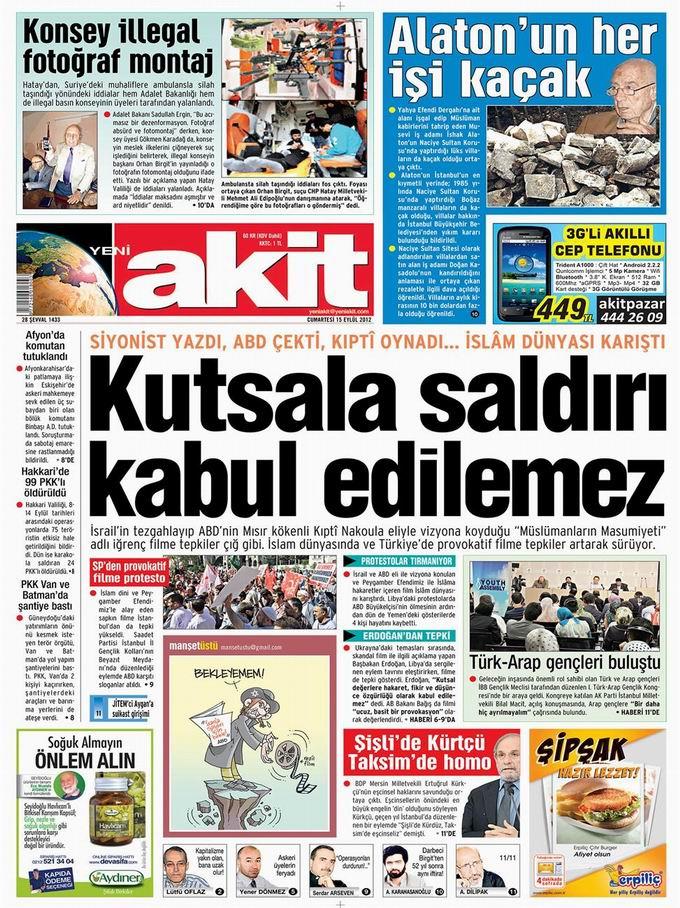 Gazete Manşetleri - 15 Eylül Cumartesi 4