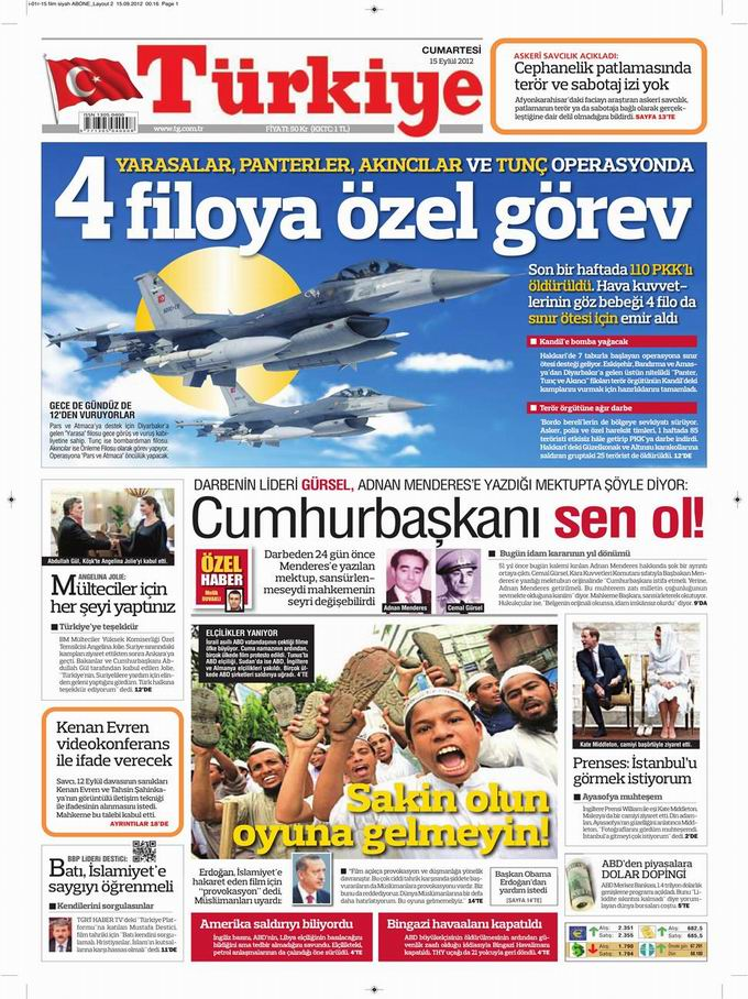 Gazete Manşetleri - 15 Eylül Cumartesi 6