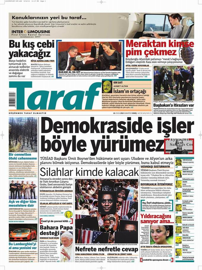 Gazete Manşetleri - 15 Eylül Cumartesi 8