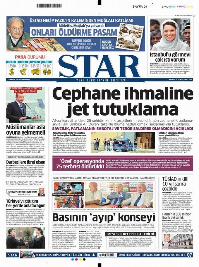 Gazete Manşetleri - 15 Eylül Cumartesi 9