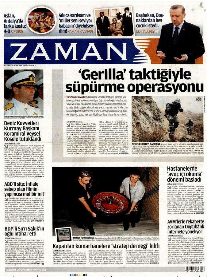 Gazete Manşetleri - 16 Eylül Pazar 1