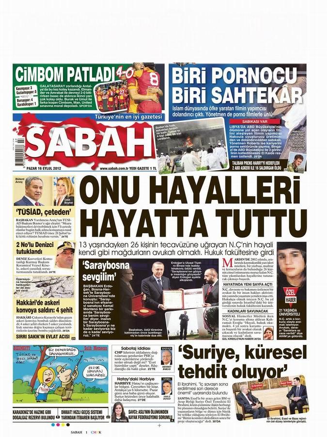 Gazete Manşetleri - 16 Eylül Pazar 11