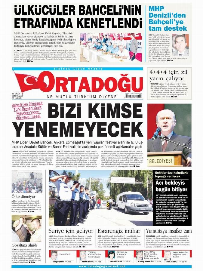 Gazete Manşetleri - 16 Eylül Pazar 14