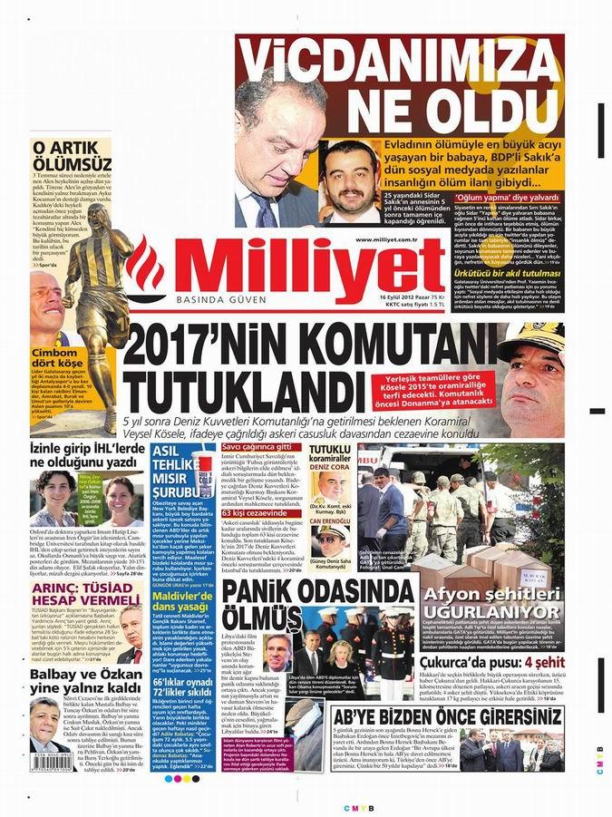 Gazete Manşetleri - 16 Eylül Pazar 15