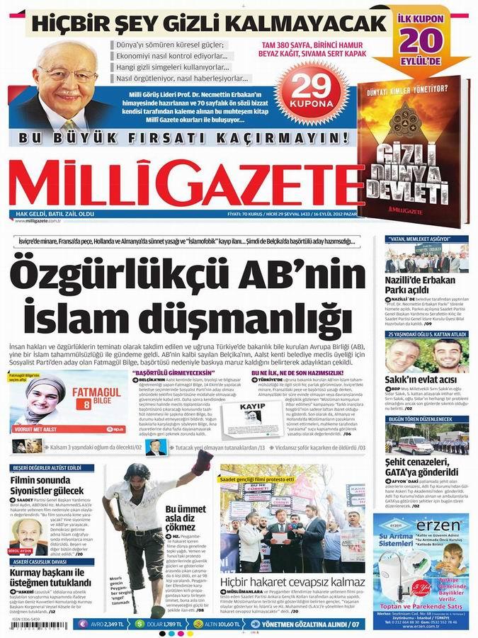 Gazete Manşetleri - 16 Eylül Pazar 16
