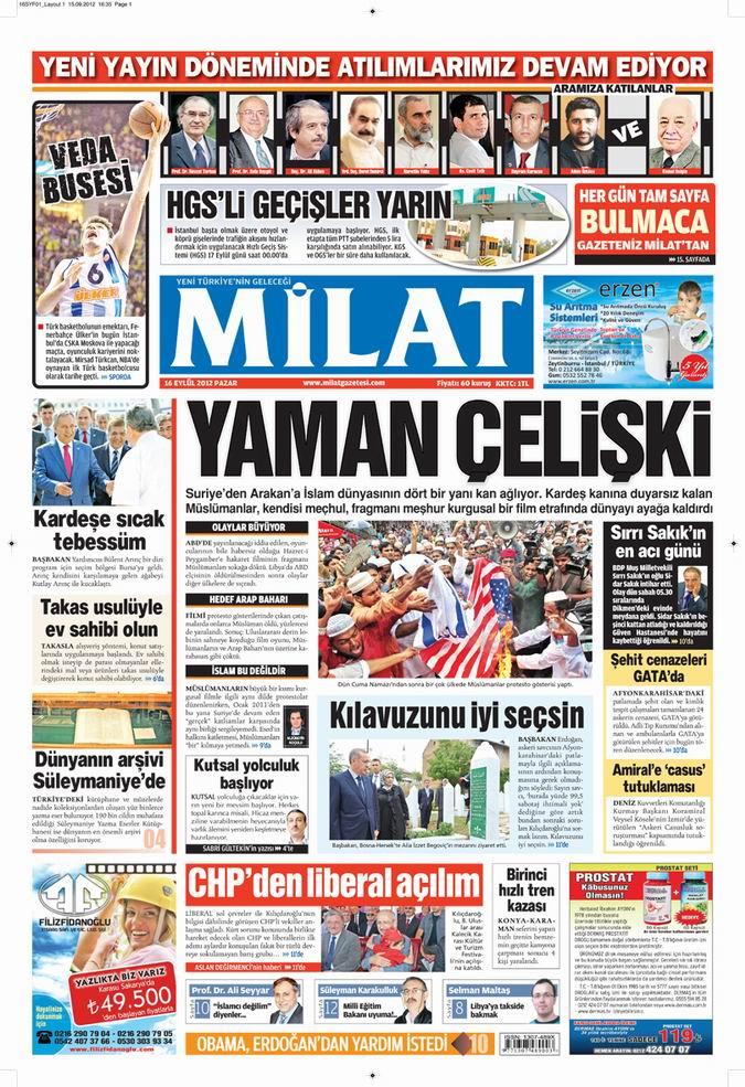 Gazete Manşetleri - 16 Eylül Pazar 17
