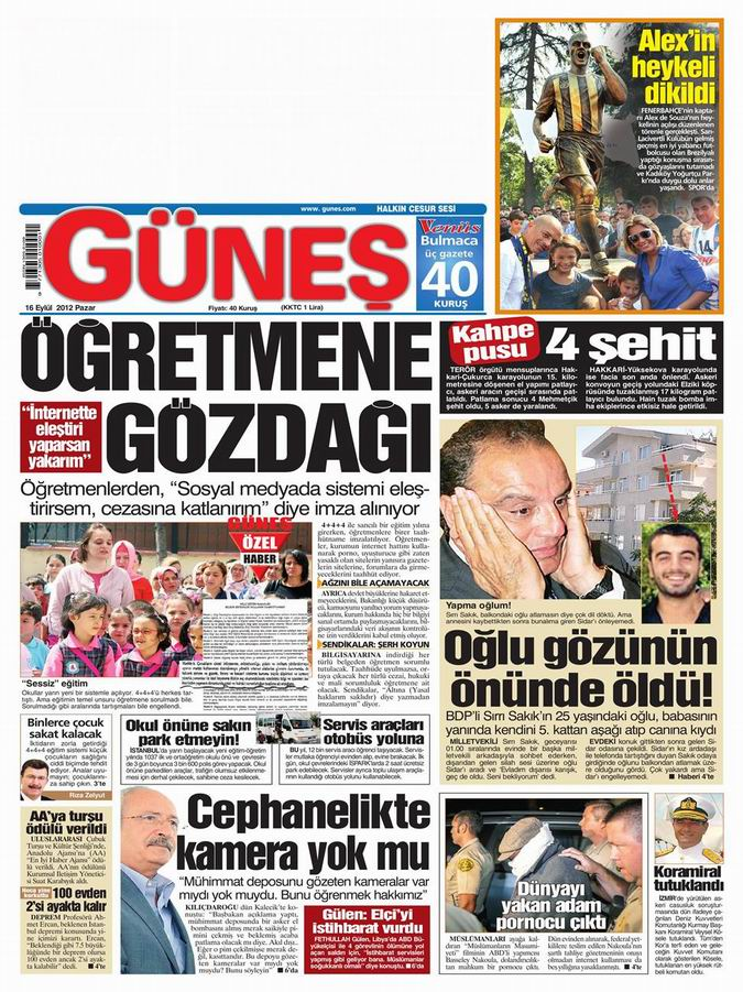 Gazete Manşetleri - 16 Eylül Pazar 18