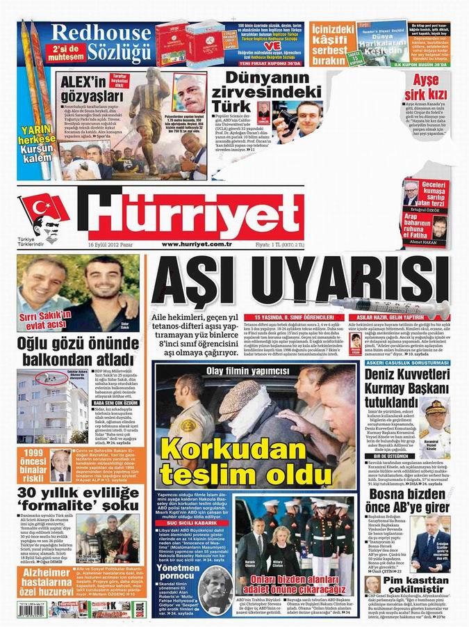 Gazete Manşetleri - 16 Eylül Pazar 19