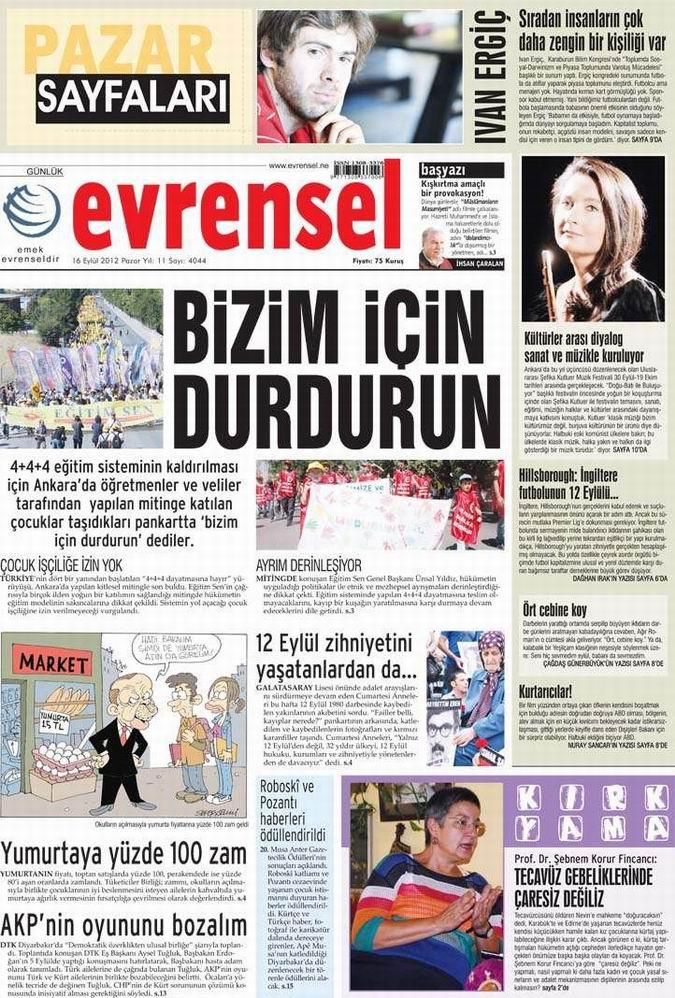Gazete Manşetleri - 16 Eylül Pazar 20