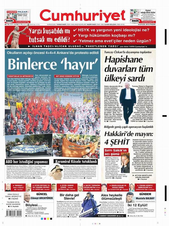 Gazete Manşetleri - 16 Eylül Pazar 21