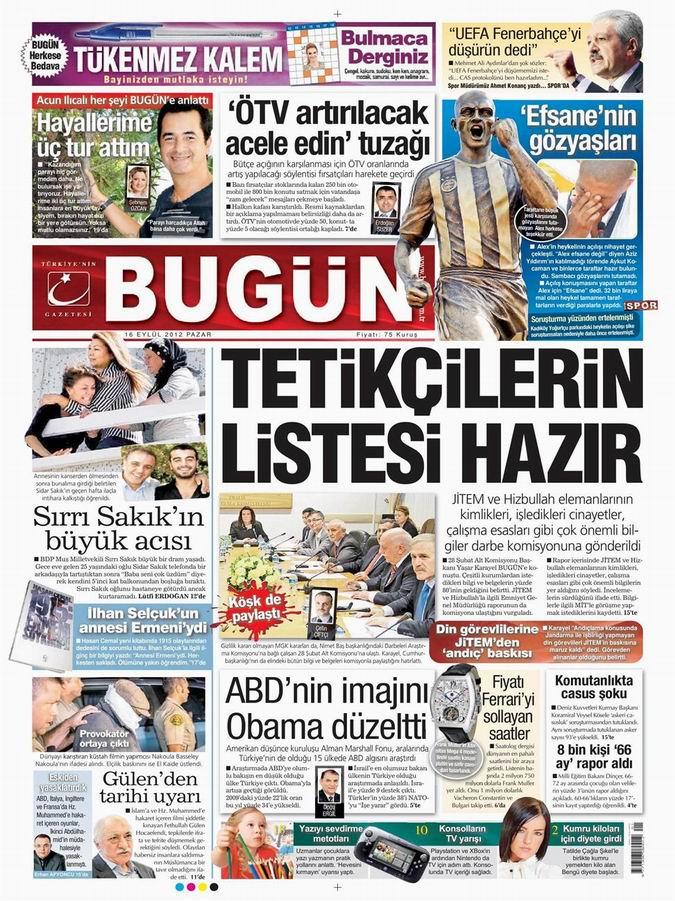 Gazete Manşetleri - 16 Eylül Pazar 22