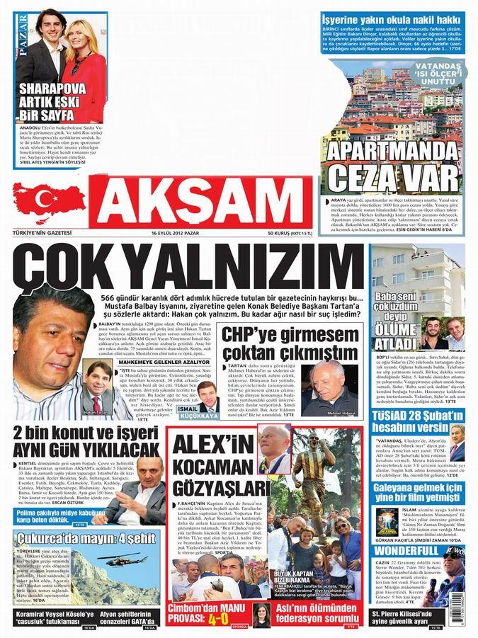 Gazete Manşetleri - 16 Eylül Pazar 24