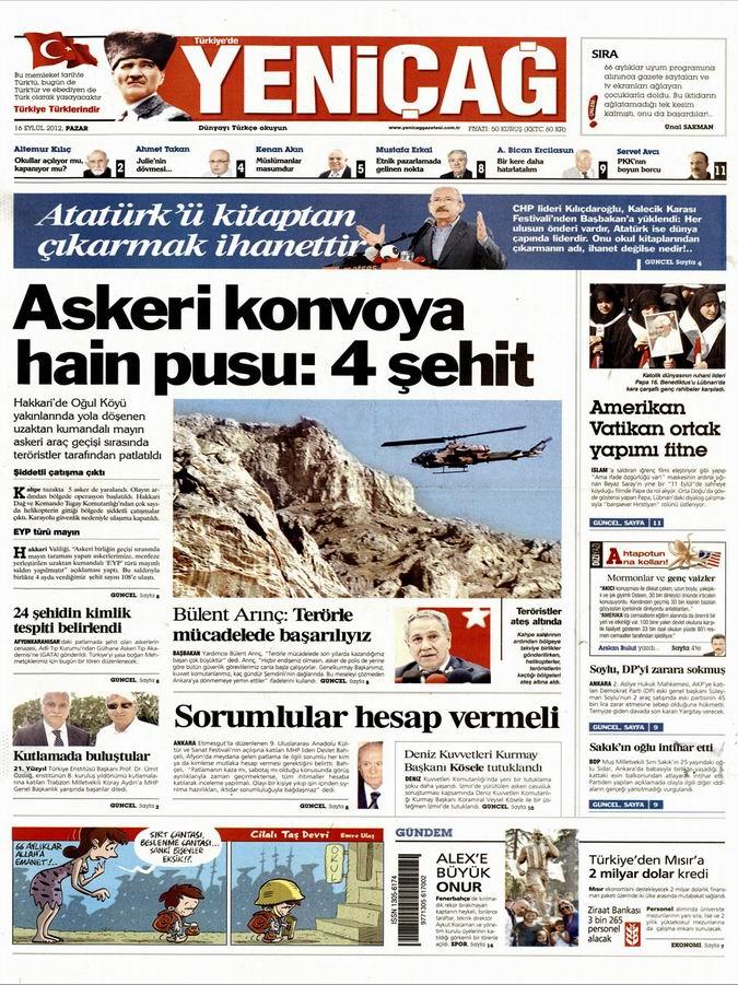 Gazete Manşetleri - 16 Eylül Pazar 6