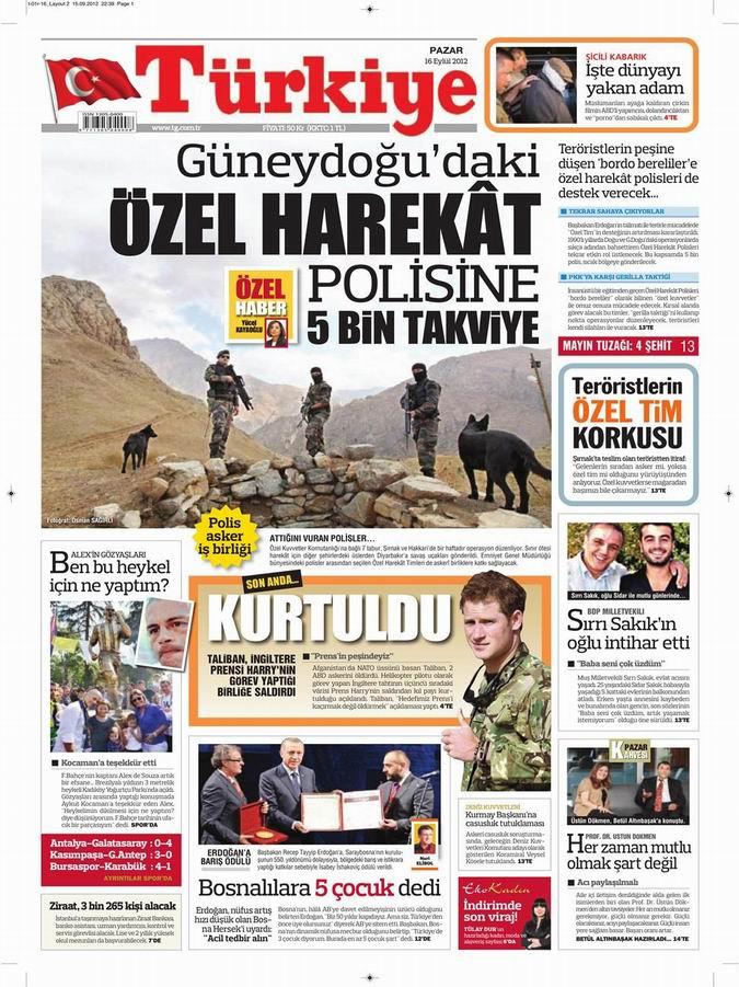Gazete Manşetleri - 16 Eylül Pazar 7