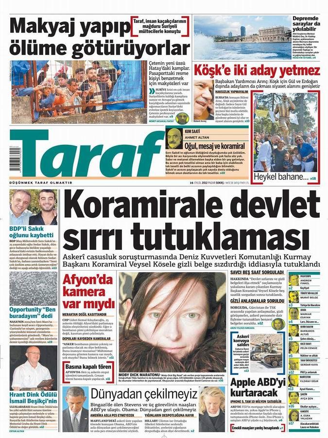 Gazete Manşetleri - 16 Eylül Pazar 8