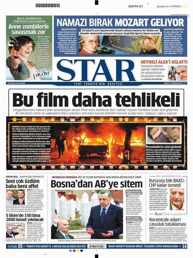 Gazete Manşetleri - 16 Eylül Pazar 9