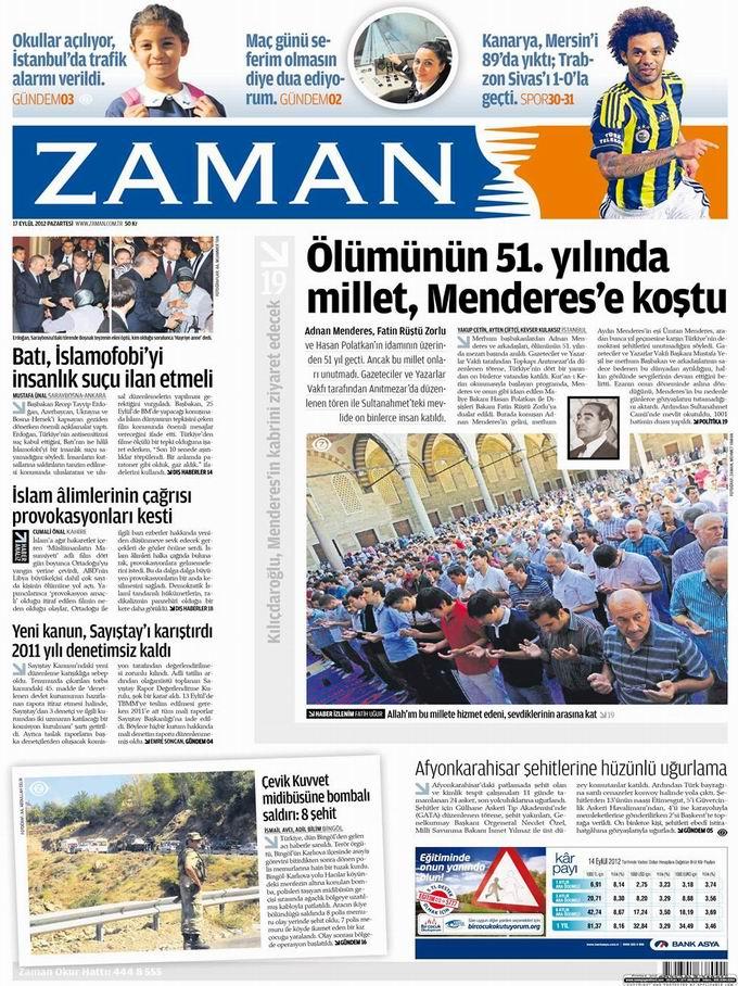 Gazete Manşetleri - 17 Eylül Pazartesi 1