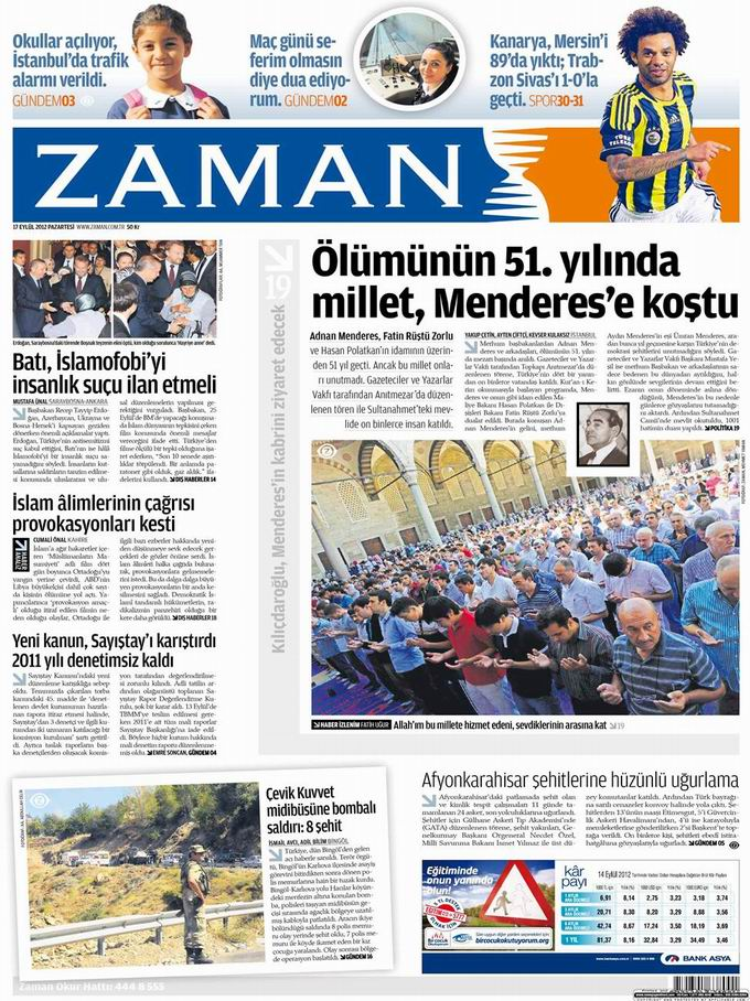 Gazete Manşetleri - 17 Eylül Pazartesi galerisi resim 1