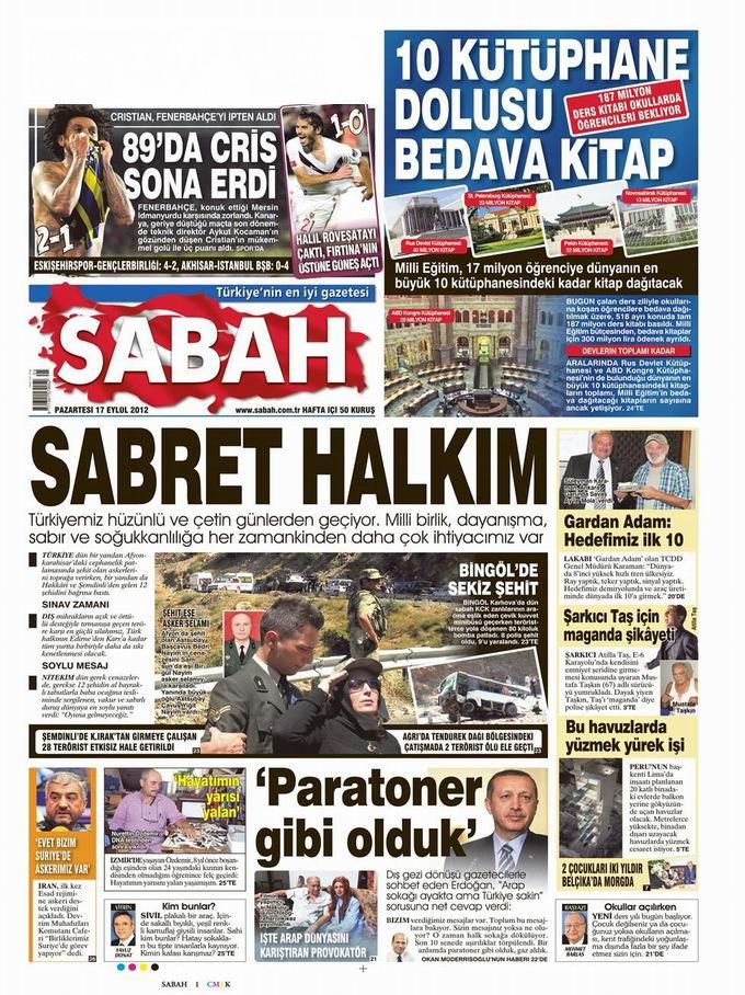 Gazete Manşetleri - 17 Eylül Pazartesi 11