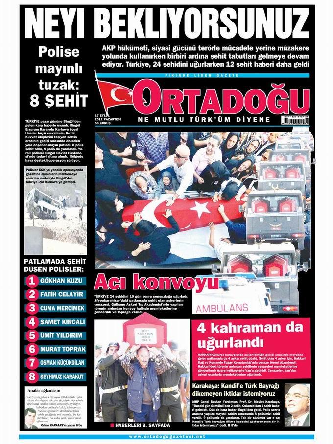 Gazete Manşetleri - 17 Eylül Pazartesi 14