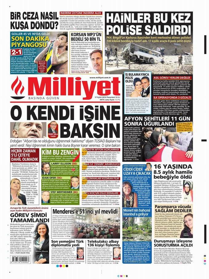 Gazete Manşetleri - 17 Eylül Pazartesi 15