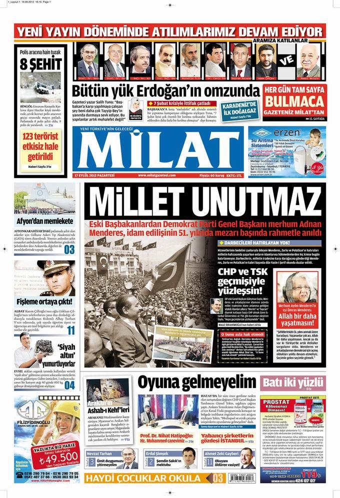 Gazete Manşetleri - 17 Eylül Pazartesi 17