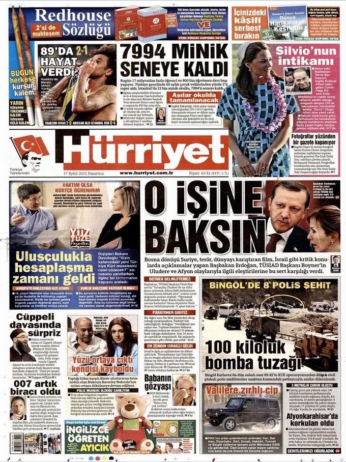 Gazete Manşetleri - 17 Eylül Pazartesi 18