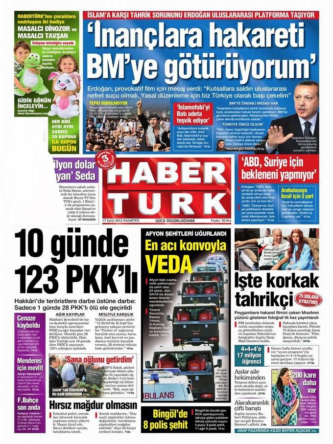 Gazete Manşetleri - 17 Eylül Pazartesi 19