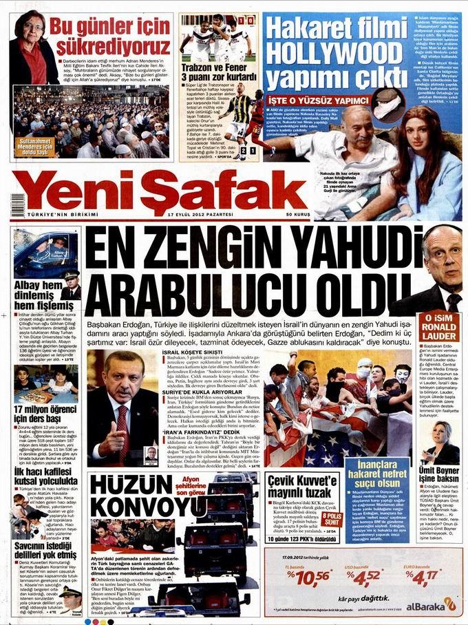 Gazete Manşetleri - 17 Eylül Pazartesi 2