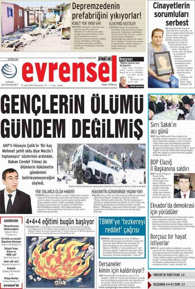 Gazete Manşetleri - 17 Eylül Pazartesi 21