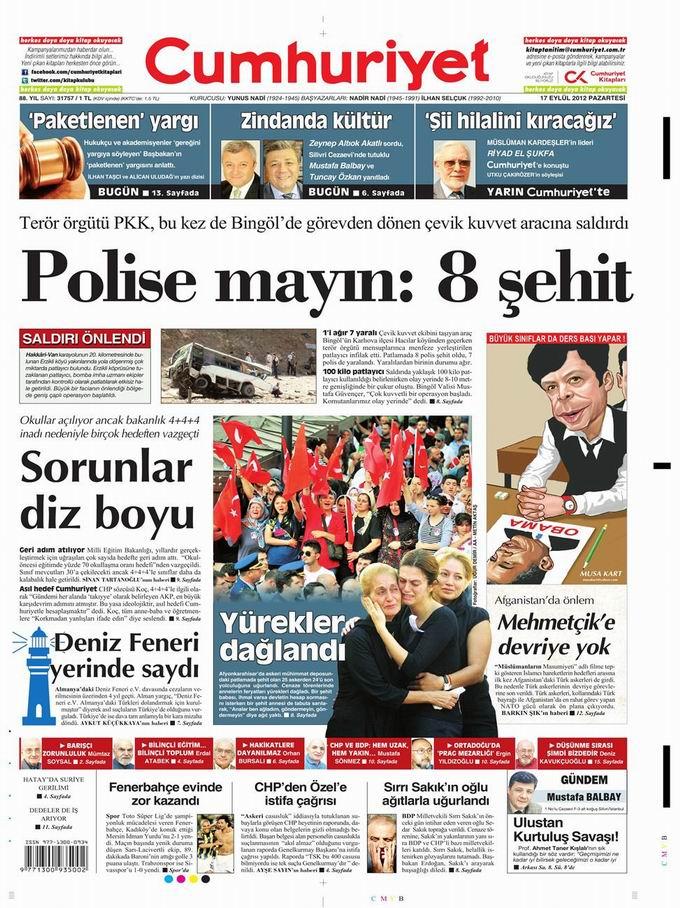 Gazete Manşetleri - 17 Eylül Pazartesi 22