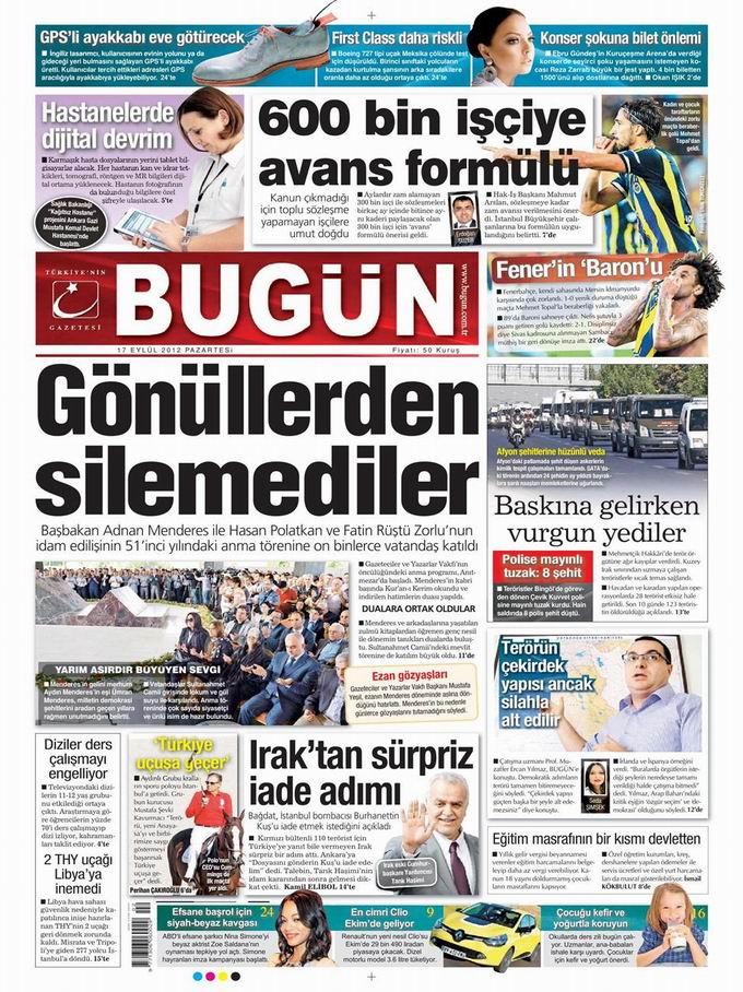 Gazete Manşetleri - 17 Eylül Pazartesi 23