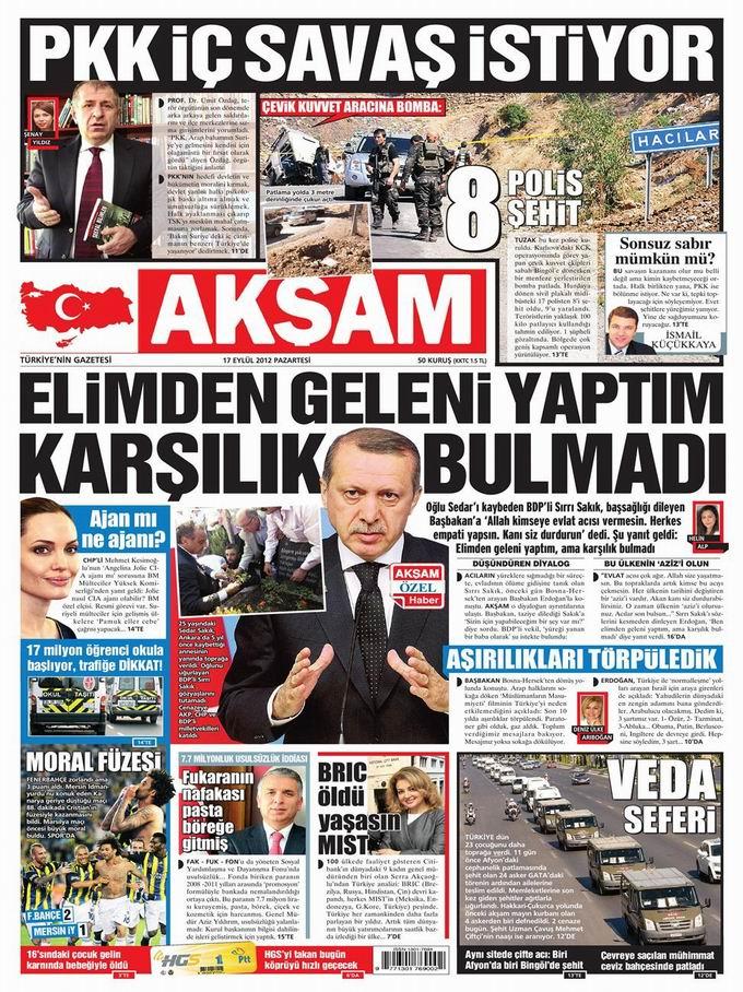 Gazete Manşetleri - 17 Eylül Pazartesi 25