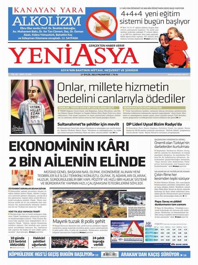 Gazete Manşetleri - 17 Eylül Pazartesi 3