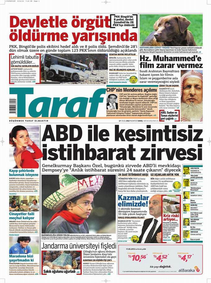 Gazete Manşetleri - 17 Eylül Pazartesi 8