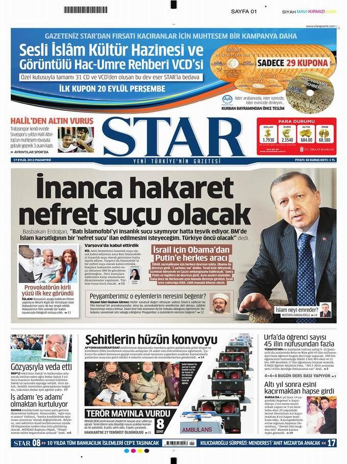 Gazete Manşetleri - 17 Eylül Pazartesi 9