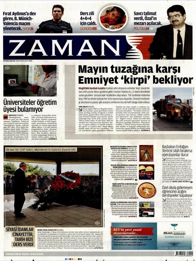 Gazete Manşetleri - 18 Eylül Salı 1