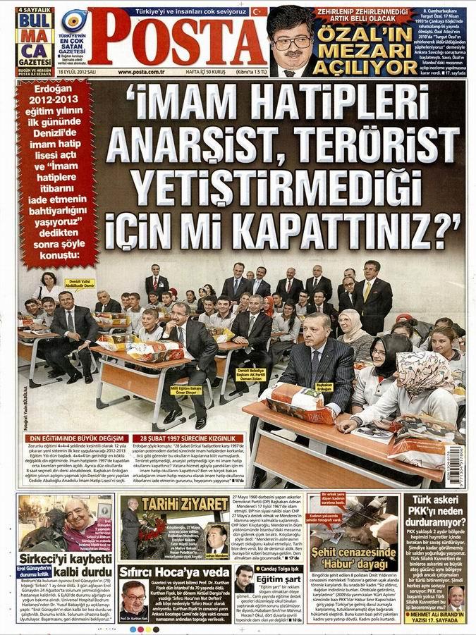 Gazete Manşetleri - 18 Eylül Salı 12