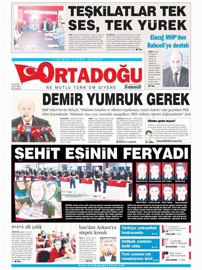 Gazete Manşetleri - 18 Eylül Salı 13