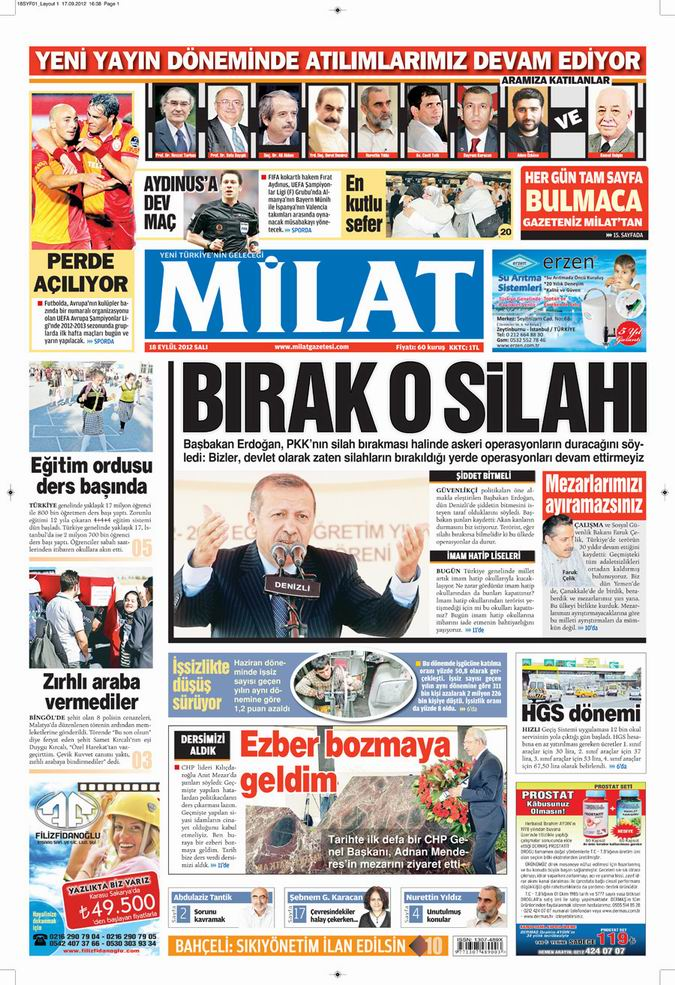 Gazete Manşetleri - 18 Eylül Salı 16