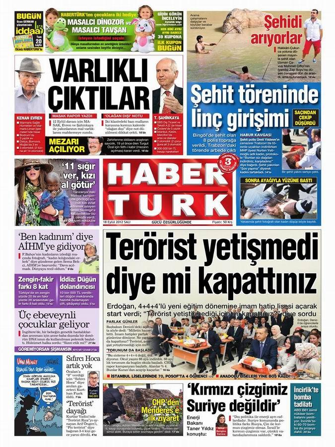 Gazete Manşetleri - 18 Eylül Salı 18