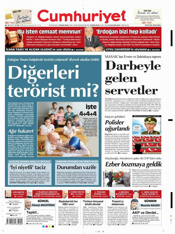 Gazete Manşetleri - 18 Eylül Salı 20