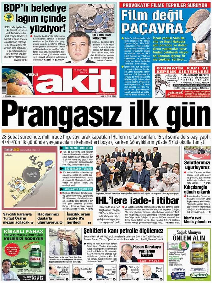 Gazete Manşetleri - 18 Eylül Salı 4